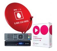 Комплект Телекарта ТВ Full HD с ресивером EVO 09HD с антенной 60 см. красного цвета