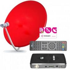 Комплект Телекарта ТВ Full HD с ресивером Gi HD Slim3+ с антенной 60 см. красного цвета
